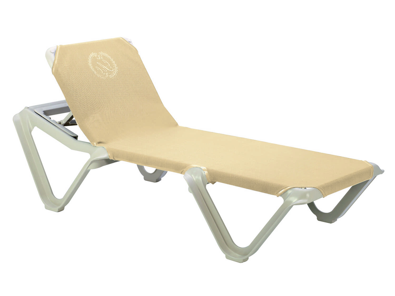 Grosfillex nautical resin adjustable sling sandstone chaise frame sold in 2 99155166 - Grosfillex chaise longue ...