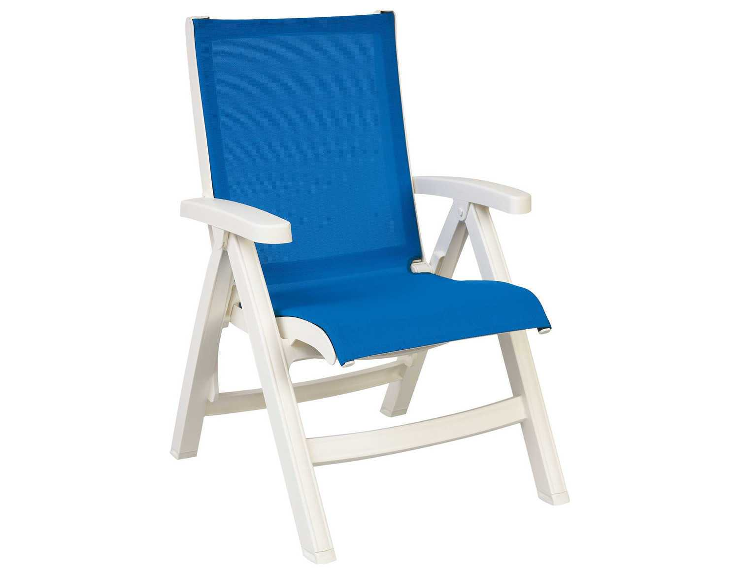 Grosfillex Belize Midback Resin Folding Sling White Lounge Chair Sold in 2
