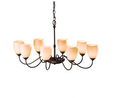 Hubbardton Forge Oval 22'' Wide Eight-Light Incandescent Eight-Bulbs Chandelier Mahogany / Opal - 101304-03-G83