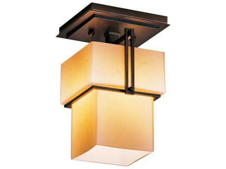 Hubbardton Forge Kakomi Semi-Flush Mount Light Mahogany / Opal - 123755-03-G102