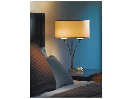 Hubbardton Forge Formae Two-Light Incandescent Table Lamp Mahogany / Doeskin Suede - 272710-03-436G