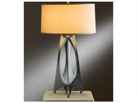 Hubbardton Forge Moreau Incandescent Table Lamp Mahogany / Doeskin Suede - 273075-03-274