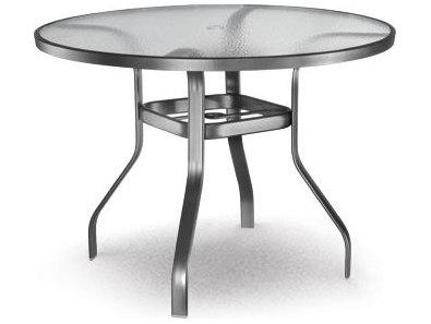Homecrest glass aluminum 48 round counter table with - Aluminium picnic table with umbrella ...
