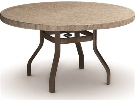 Homecrest Slate Aluminum 42 Round Dining Table Hc3742rdslnu Slate Faux