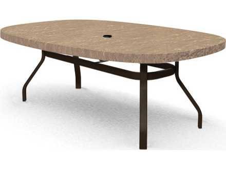 Homecrest Sandstone 67 X 47Oval Stone Dining Table With Umbrella Hole 37476