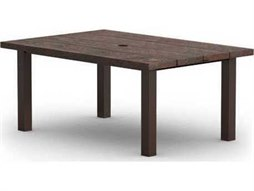 Homecrest Timber Quick Ship Aluminum 62 x 42 Complete Rectangular Dining Table with Hole Post Base