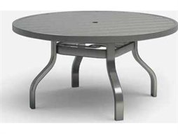 Homecrest Breeze Quickship Aluminum 54 Round Dining Table with Umbrella Hole