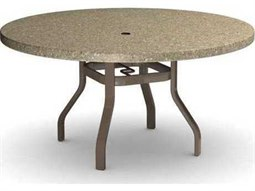Homecrest Stonegate Quick Ship Aluminum 54 Round  Dining Table with Umbrella Hole