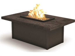 Homecrest Aurora Natural Series Quick Ship 52 x 32 Rectangular Coffee Fire Pit Table with Timber Top