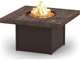 Homecrest Aurora Natural Series Quick Ship Aluminum 42 Square Coffee Fire Pit Table with Timber Top