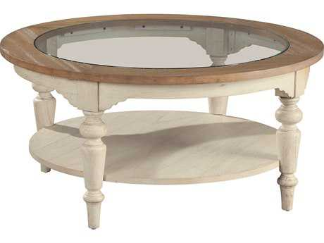 Hekman suttons bay sand weathered round coffee table 1 for Round weathered coffee table