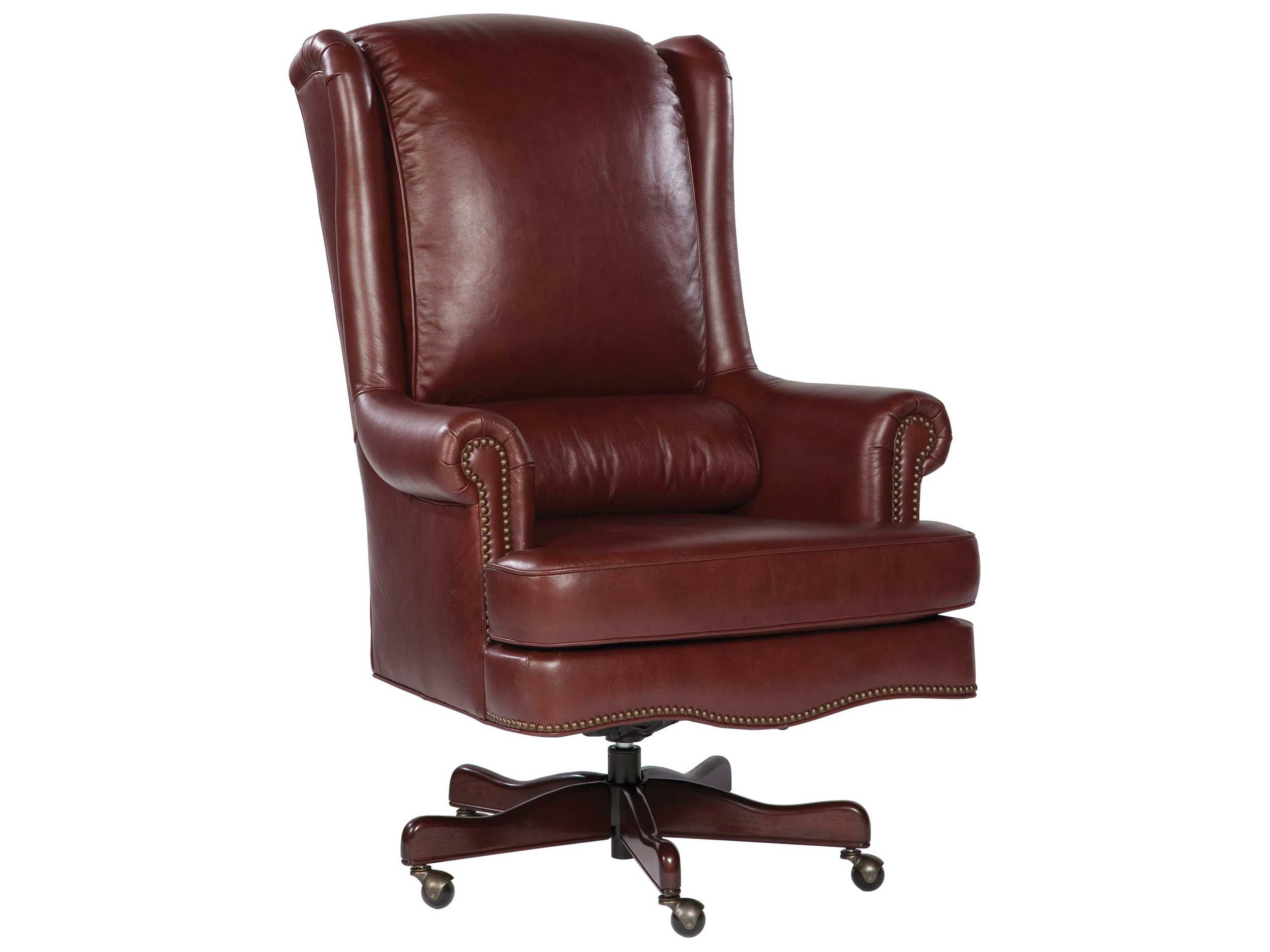 office executive leather chair with lumbar pillow in merlot office