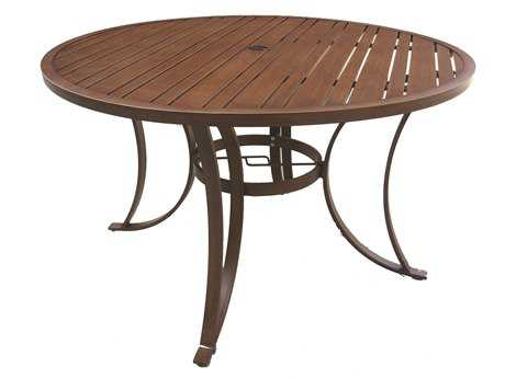 rattan outdoor slatted aluminum 48 round dining table slatted tables