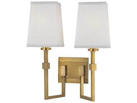 Hudson Valley Warm Modern Fletcher Aged Brass Two-Light 14'' Wide Wall Sconce