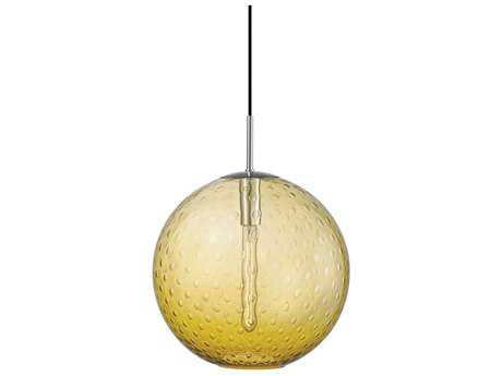 Hudson Valley Warm Modern Rousseau Polished Chrome 16'' Wide Pendant with Light Amber Glass