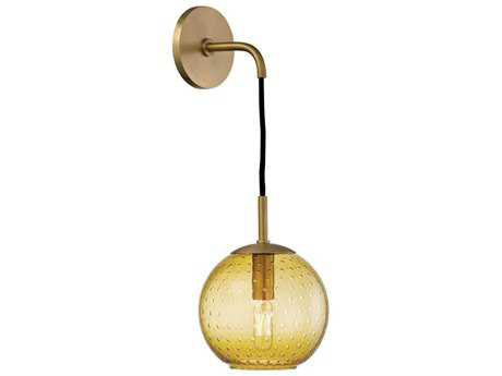 Hudson Valley Warm Modern Rousseau Aged Brass 6'' Wide Wall Sconce with amber glass