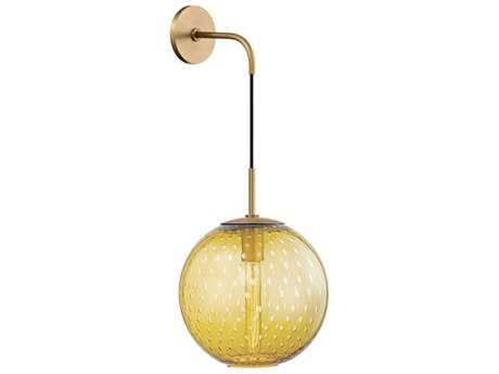 Hudson Valley Warm Modern Rousseau Aged Brass 10'' Wide Wall Sconce with Light Amber