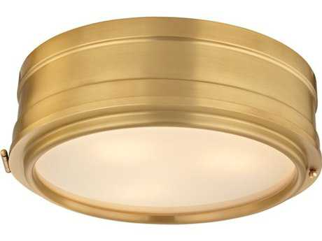 Hudson Valley Timeless Elegance Rye Aged Brass Three-Light 14'' Wide Flush Mount Light
