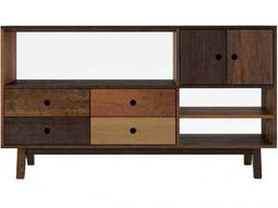 Ion Design Vintage Black Walnut Queen Panel Bed With