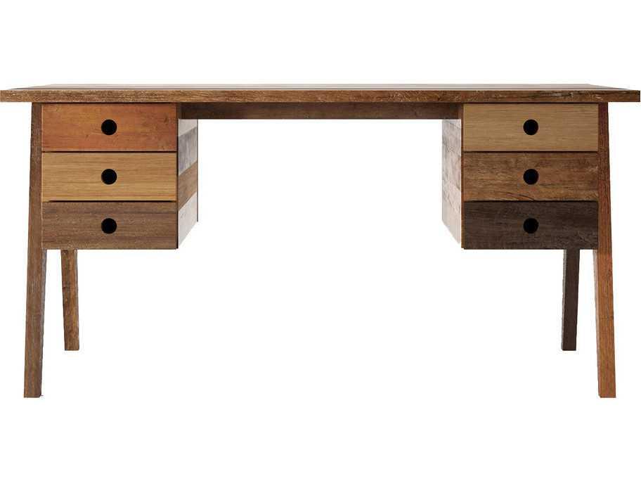 brooklyn reclaimed hard wood six drawer 63 x 27 5 accent desk brooklyn ...