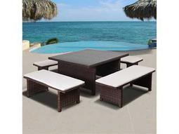International Home Miami Atlantic Bellagio 5 Piece Low Dining Set Brown