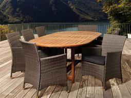 International Home Miami  Amazonia Eucalyptus & Wicker Extendable Rectangular Nine Piece Nicholas Dining Set