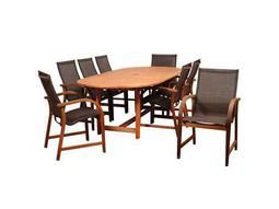 International Home Miami Amazonia Bahamas 9 Piece Eucalyptus Extendable Rectangular Dining Set with Brown Sling Chair