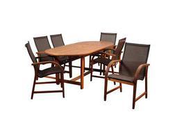 International Home Miami Amazonia Bahamas 7 Piece Eucalyptus Extendable Rectangular Dining Set with Brown Sling Chair