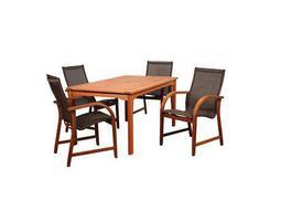 International Home Miami Amazonia Bahamas 5 Piece Eucalyptus Rectangular Dining Set with Brown Sling Chair