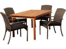 International Home Miami  Amazonia Eucalyptus & Wicker Rectangular Five Piece Warner Dining Set with Grey Cushions