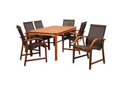 International Home Miami Amazonia Bahamas 7 Piece Eucalyptus Rectangular Dining Set with Brown Sling Chair
