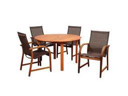 International Home Miami Amazonia Bahamas 5 Piece Ecualyptus Round Dining Set with Brown Sling Chair