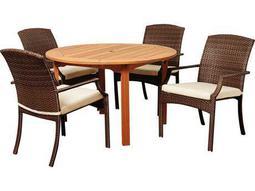 International Home Miami  Amazonia Eucalyptus & Wicker Round Five Piece Warner Dining Set with Off-White Cushions