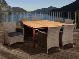 International Home Miami  Amazonia Eucalyptus & Wicker Square Nine Piece Normand Dining Set with Grey Cushions
