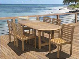 International Home Miami  Amazonia Eucalyptus Oval Seven piece Extendable Dining Set