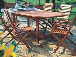 International Home Miami  Amazonia Eucalyptus Oval Seven Piece Extendable Milano Dining Set