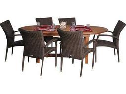International Home Miami  Amazonia Eucalyptus & Wicker Oval Seven Piece Extendable Lemans Deluxe Dining Set