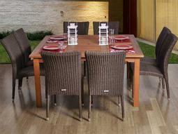 International Home Miami  Amazonia Eucalyptus & Wicker Square Nine Piece Provence Dining Set