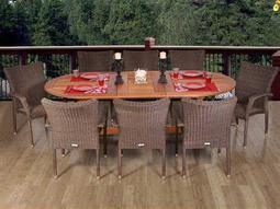 International Home Miami  Amazonia Eucalyptus & Wicker Nine Piece Extendable Oval Renaissance Dining Set