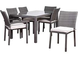 International Home Miami Atlantic Liberty 7 Piece Rectangular Dining Set Grey