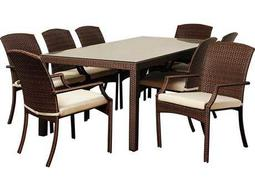 International Home Miami  Atlantic Wicker Rectangular Eight Piece Brown Rolland Dining Set