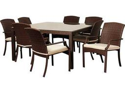International Home Miami  Atlantic Wicker Square Eight Piece Brown Rolland Dining Set