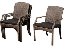 International Home Miami  Atlantic Wicker Dining Arm Chair (4 Piece Set)