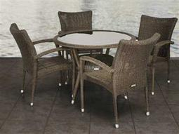 International Home Miami  Atlantic Wicker Round Five Piece Bari Dining Set