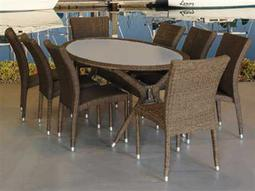 International Home Miami  Atlantic Wicker Oval Nine Piece Bari Dining Set