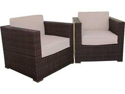 International Home Miami  Atlantic Wicker Two Piece Bellagio Armchair Set with Off-White Cushions