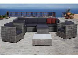 International Home Miami  Atlantic Nine Piece Grey Southampton Seating Set with Grey Cushions