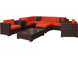 International Home Miami  Atlantic Wicker Nine Piece Southampton Sectional Set with Orange Cushions