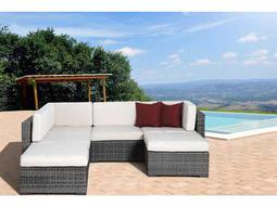 International Home Miami  Atlantic Six Piece Grey Clermont Seating Set with Off-White Cushions