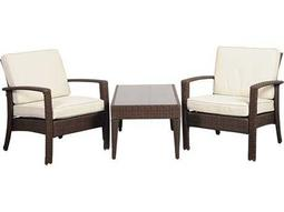 International Home Miami  Atlantic Wicker Brown Three Piece Florida Deluxe Conversation Set with Off-White Cushions